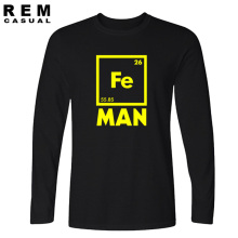 2016 Fashion casual streetwear funny FE MAN Iron Science Chemistry Fe drake T-Shirt Tops Long sleeve Tees men t shirt