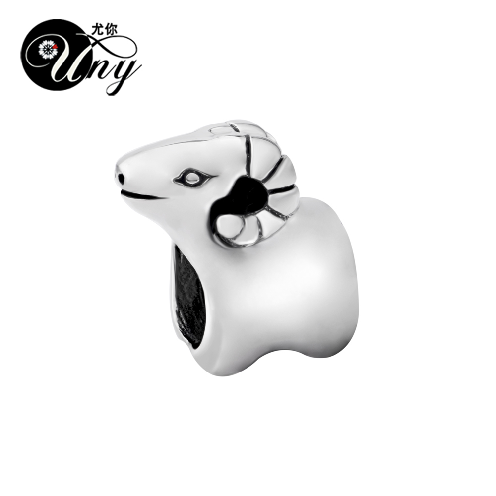 UNY Vintage Unique beads Fit Pandora charm Bead bracelet guaranteed Beads 925 Silver Aries Zodiac Spacer Bead Fit Pandora Charms