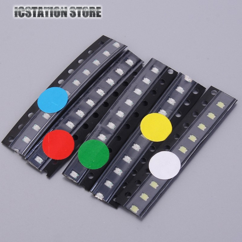 50pcs (5 colors x 10pcs) SMD 0805 LED White Red Green Yellow Blue Surface Mount Light Emitting Diode Lamp Assorted Kit 0805 240k 5 1m smd resistor white 420 pcs