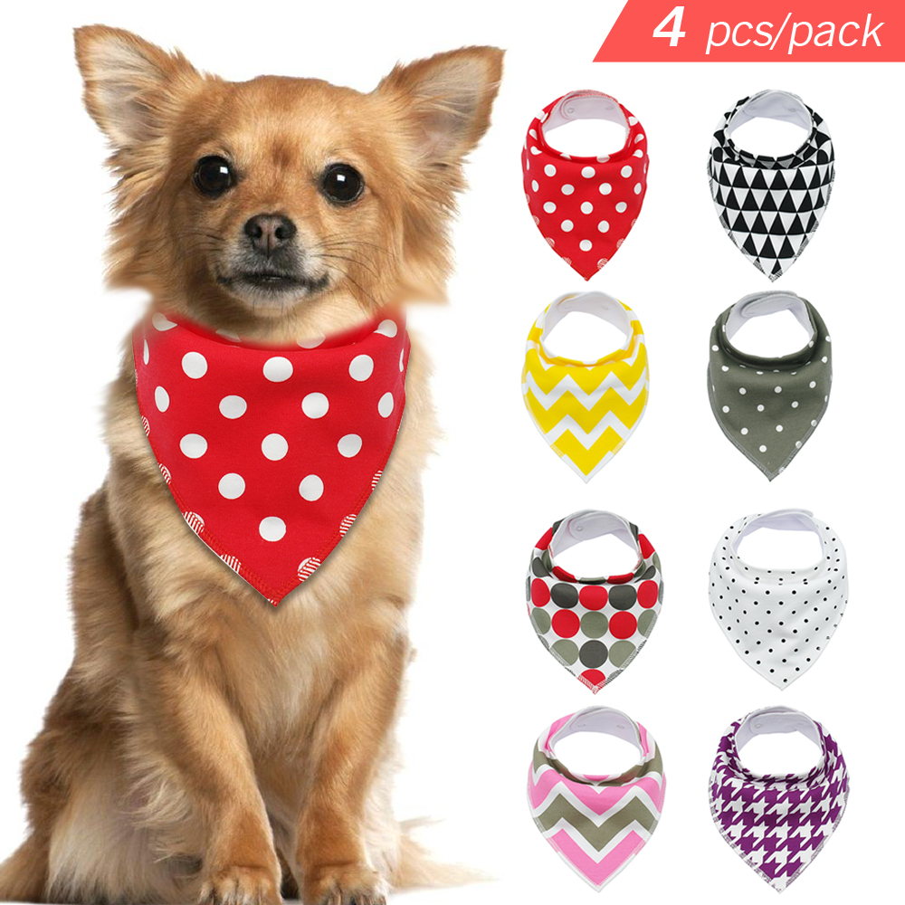 4pcs dog bandana pet cotton bib scarf dogs grooming accessories bandage collar for small medium large pet fashion design