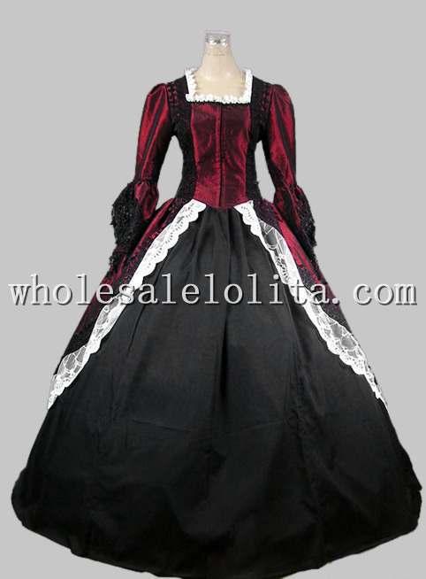 18th века готический цвет красного вина и черные Мария Антуанетта период платье Производительность Костюмы Хеллоуин костюм - Цвет: Wine Red and Black