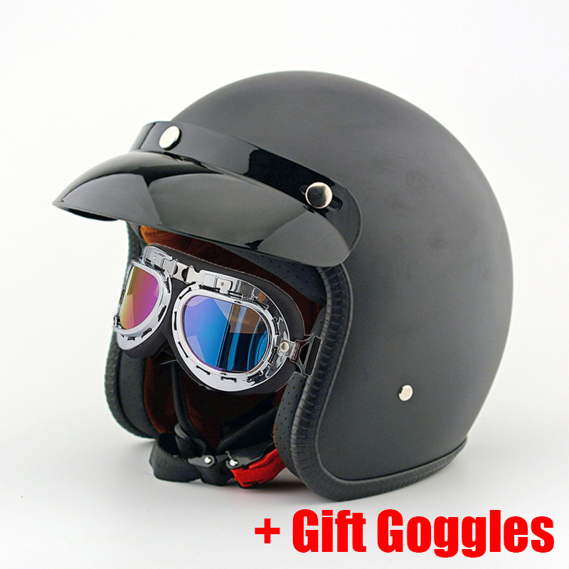 Vintage Motorcycle Helmets Retro Scooter Bike Jet Pilot Open Face Motorbike Helmet Mask Goggles Gifts For Harley