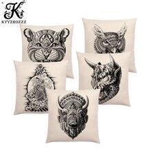 Cushion-Cover Throw-Pillow-Case Tattoo Sofa Prints Faith Owl Animal Totems Tiger-Lion-Ram