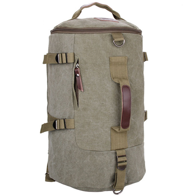 5df2bb62dce5 Fashion men Canvas Backpack Large Capacity Handbag Luggage Bag Travel rock  Cylinder Shape shoulder bag