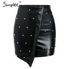 d174f74a99 Simplee corto de PU cuero falda de la moda de las mujeres 2018 Bodycon negro  mini falda sexy remache streetwear alta cintura bod.