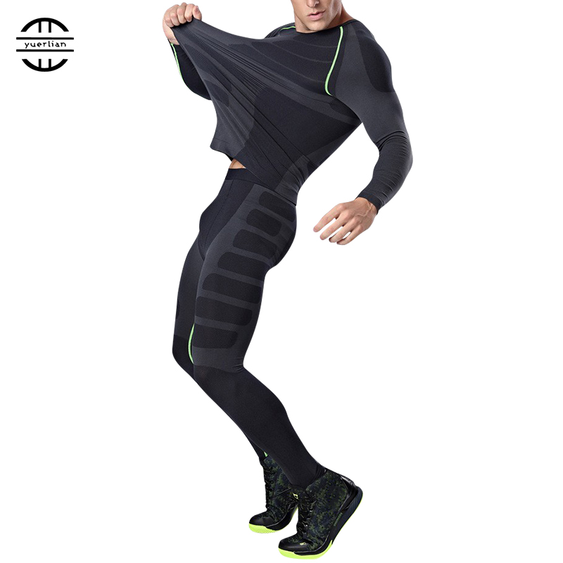 YEL New Logo Custom Compression Tracksuit Men Training Running Set Fitness Tight Long Sleeve Shirt Pants Leggings Gym Sport Suit