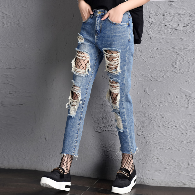 2017 Summer Loose Ripped Hole Jeans Harem Pants Fashion Style Tide High Waist Vintage Denim Ankle-length Pants Blue Pencil Pants free shipping fashion women jeans loose ankle length ripped hole harem denim pants korean style casual mid waist femme trousers