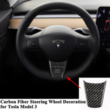 1pc Carbon Fiber Styling Car Steering Wheel Decoration Cover Sporty modification with Logo Sticker Accessories for Tesla Model 3