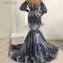 Sliver Evening Dresses 2019 Sweetheart Neckline Sequins Sparkly Mermaid Short Sleeve Prom