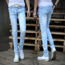 The new 2018 light color jeans men's foot trousers cultivate one's morality fashion youth stretch pants(China)