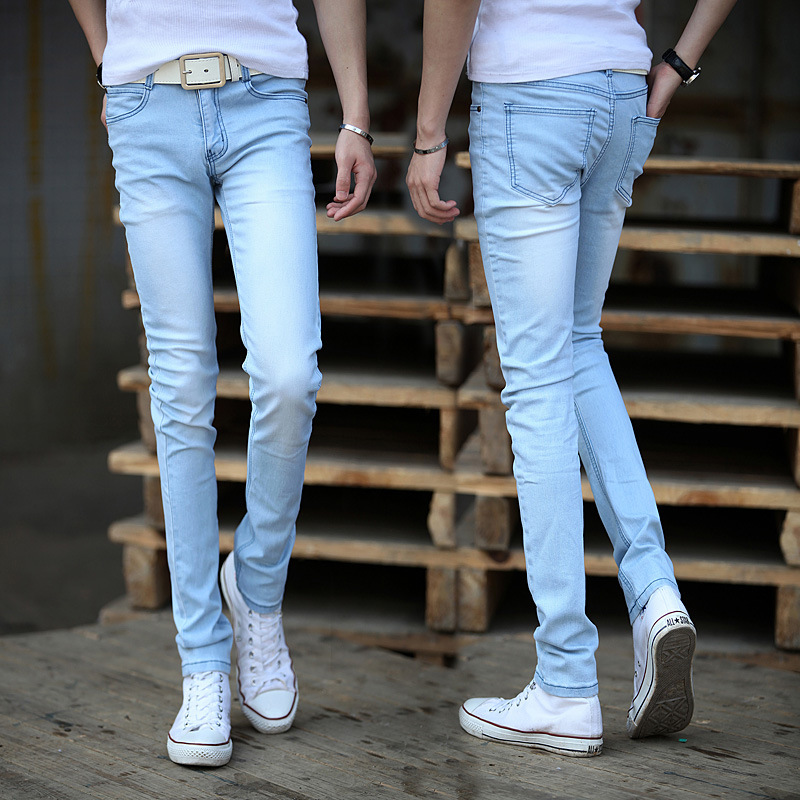 The new 2019 light color   jeans   men's foot trousers cultivate one's morality fashion youth stretch pants