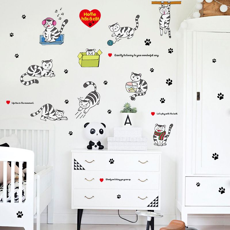 Lovely Black And White Striped Cats Footprint Cartoon Wall
