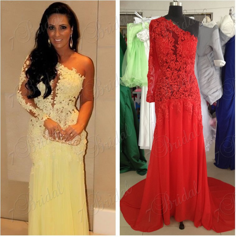 Aliexpress.com : Buy Yellow mermaid prom dresses with one shoulder ...