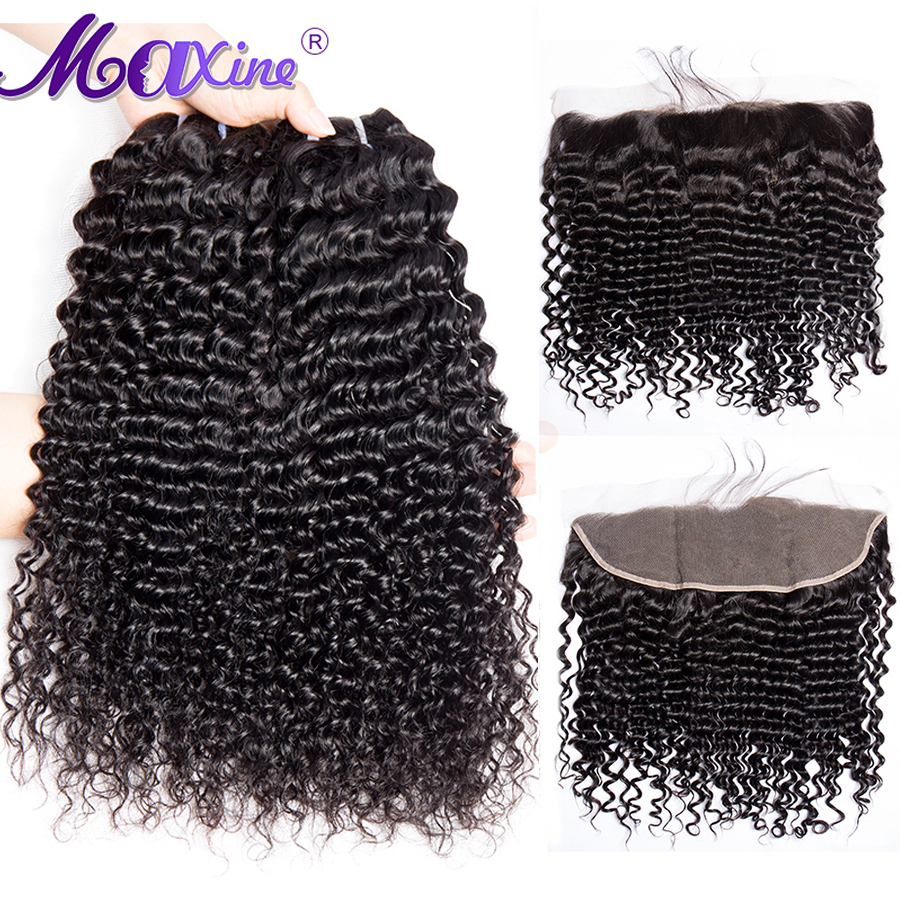Maxine Hair Curly Bundles With Closure 3 Bundle Brazilian Human Hair Weave Non Remy Lace Frontal