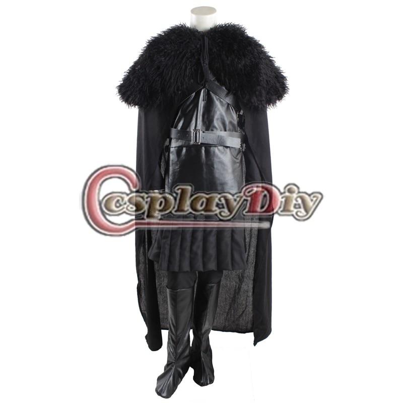 Cosplaydiy  Deluxe Game of Thrones Jon Snow Cosplay Costume Version 3 For Adult Men Halloween Custom Made D0918