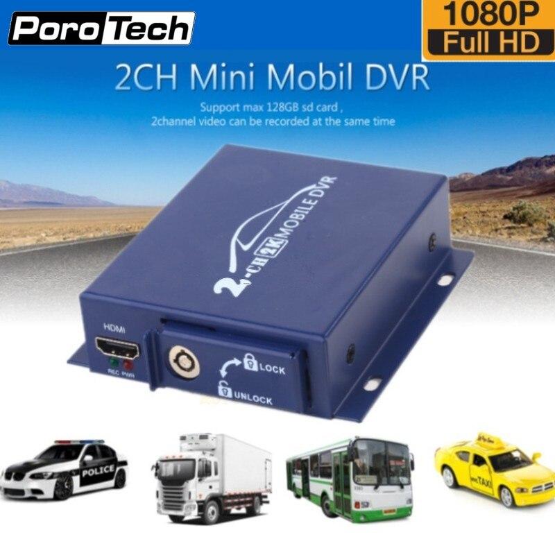 2018 Nouveau 2ch Mini AHD DVR Mobile DVR soutien CVBS/AHD 5.0MP/double-SD carte HD 1080 P 2 Canaux véhicule bus DVR avec télécommande