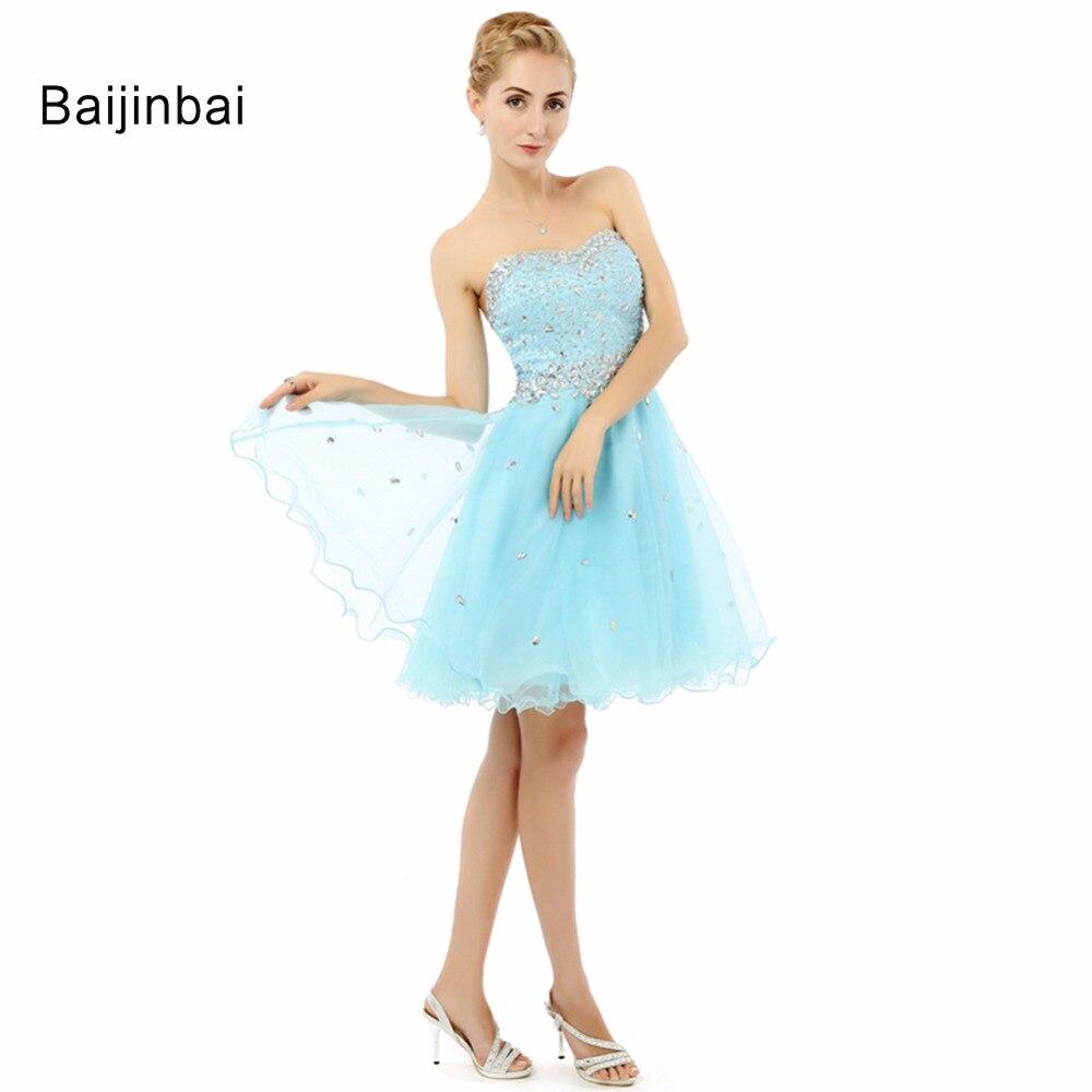 Baijinbai Nettes Kurzes Abendkleid 208 Tüll Kristall Perlen Liebsten Rückenfrei Vestidos De Quinceanera Prom Party DressS80403