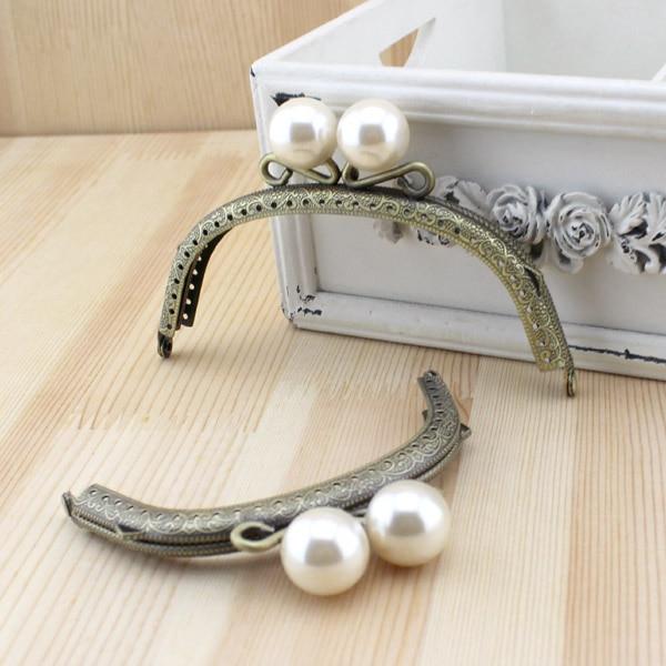 Hook Bag Hanger Belt Buckle Botton Handle Lock Ring Chain Antique Brass Sewing Pearl White Clasp Metal Purse Frame Bag Handle