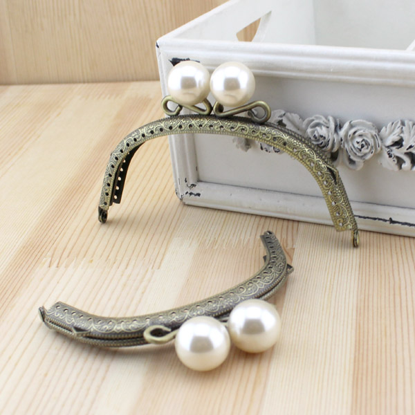 Luggage & Bags Hook Bag Hanger Belt Buckle Botton Handle Lock Ring Chain Antique Brass Sewing Pearl White Clasp Metal Purse Frame Bag Handle