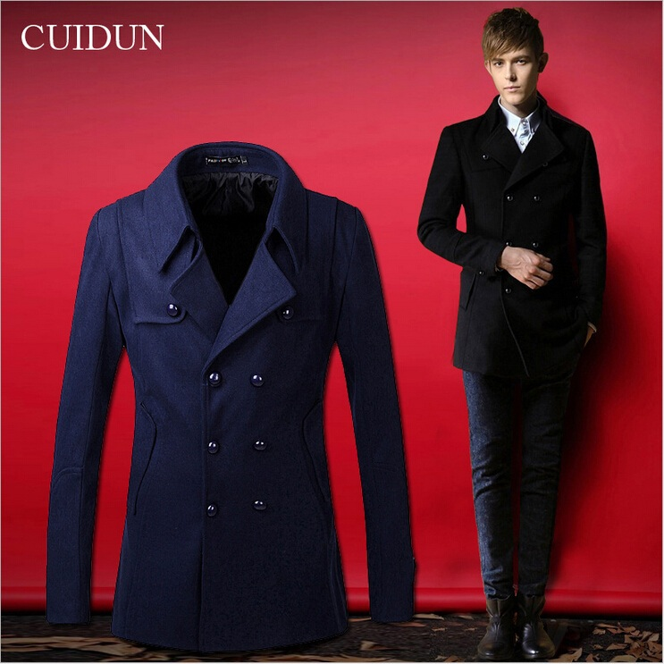 2015 Men/'s Slim Winter Coat Jacket Outerwear Overcoat Casual Tops Warm Blazer