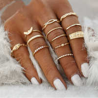IMucci 12 sztuk/zestaw urok złoty kolor Midi Ring Finger zestaw dla kobiet w stylu Vintage Boho Knuckle Party pierścionki biżuteria punkowa prezent dla dziewczyna