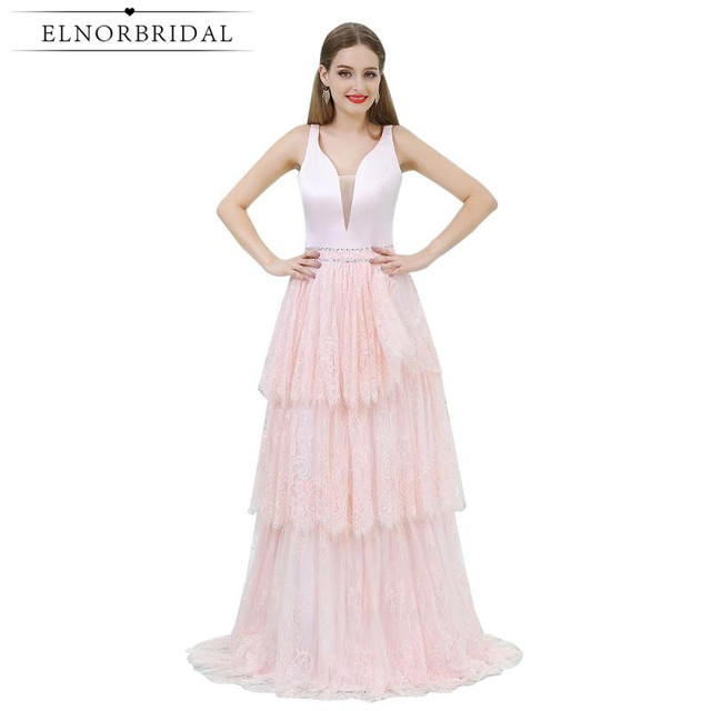 Blush Pink Lace Prom Dresses Cheap 2017 Deep V Neck Robe De Soiree ...