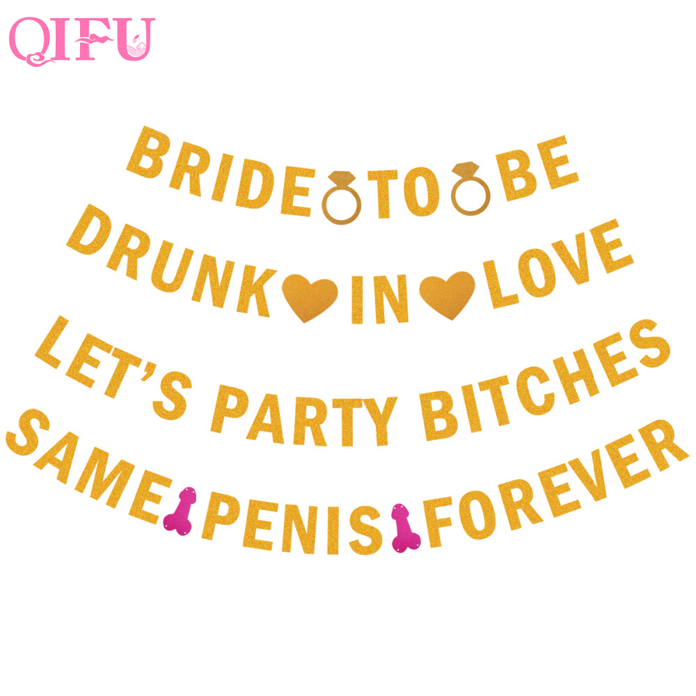 QIFU Same Penis Forever Banner Romantic Gold Glitter Penis Lips Banner Bachelorette Wedding Party Decoration Bridal Shower Decor