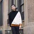 Contrast sweater men designer drop shoulder sueter hombre chompas para hombre black white green yellow pullover sweater men