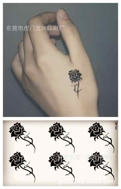 Body Art Sex Waterproof Temporary Tattoos For Men And Women Simple 3d Black Rose Design Small Tattoo Sticker Wholesale Hc1048
