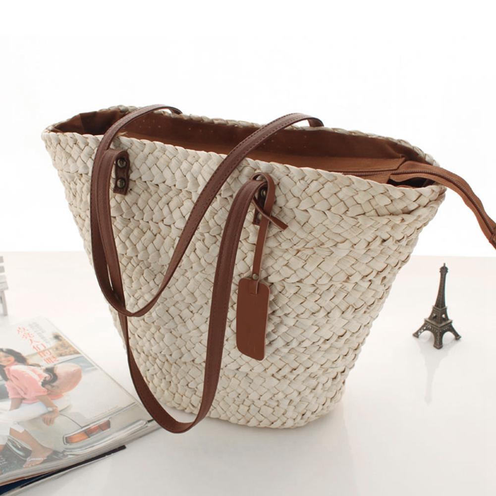 New Women Summer Single Shoulder Beach Straw Bag Simple Fashionable Woven Bag Casual Bag Beach Bag Bohemia Style Handbag