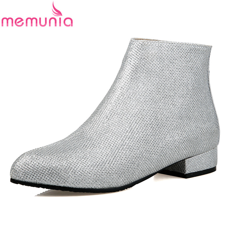 MEMUNIA Big size 34-43 2017 spring autumn fashion  ankle boots low heel pointed toe high quality pu solid shoes woman memunia 2017 fashion flock spring autumn single shoes women flats shoes solid pointed toe college style big size 34 47