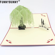 FUNNYBUNNY 3D Handmade Greeting Card Postcard Birthday Blessing Christmas Red Cover Willow Tree