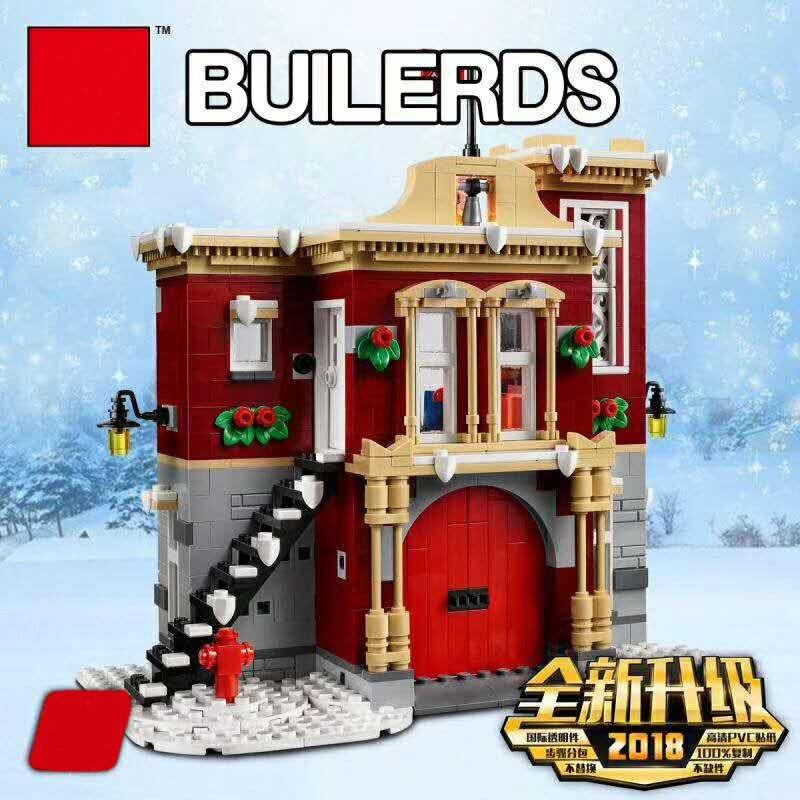 Nowy stwórcy zestaw kompatybilny Creator 10263 straż pożarna Model Building Blocks DIY klocki edukacyjne zabawki boże narodzenie Gifrts w Klocki od Zabawki i hobby na  Grupa 3