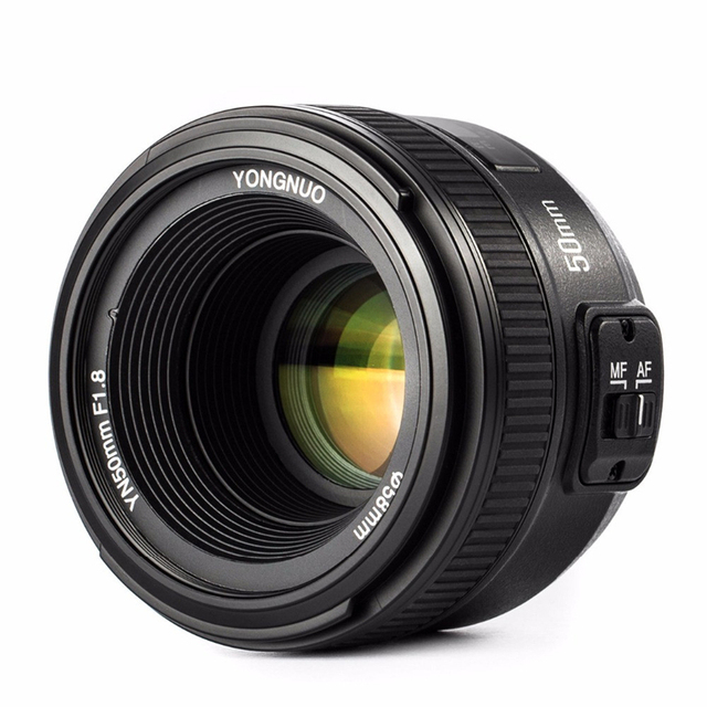 YONGNUO YN 50mm f/1.8 AF Lens YN50mm Aperture Auto Focus Large Aperture for Nikon DSLR Camera as AF-S 50mm 1.8G Free lens bag