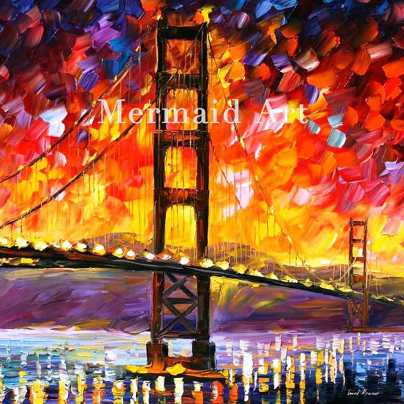 Hand Painted Landscape Abstract Golden Gate Bridge Palette font b Knife b font Modern Oil Painting