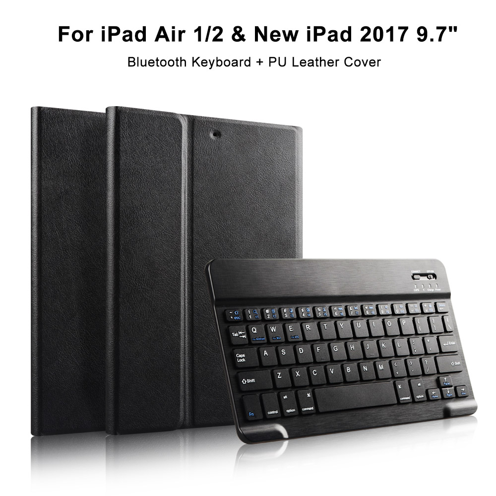 For New iPad 9.7 inch 2017 2018 & iPad air 1/2 Leather Case with Keyboard, Smart Stand Cover with Detachable Bluetooth Keyboard detachable official removable original metal keyboard station stand case cover