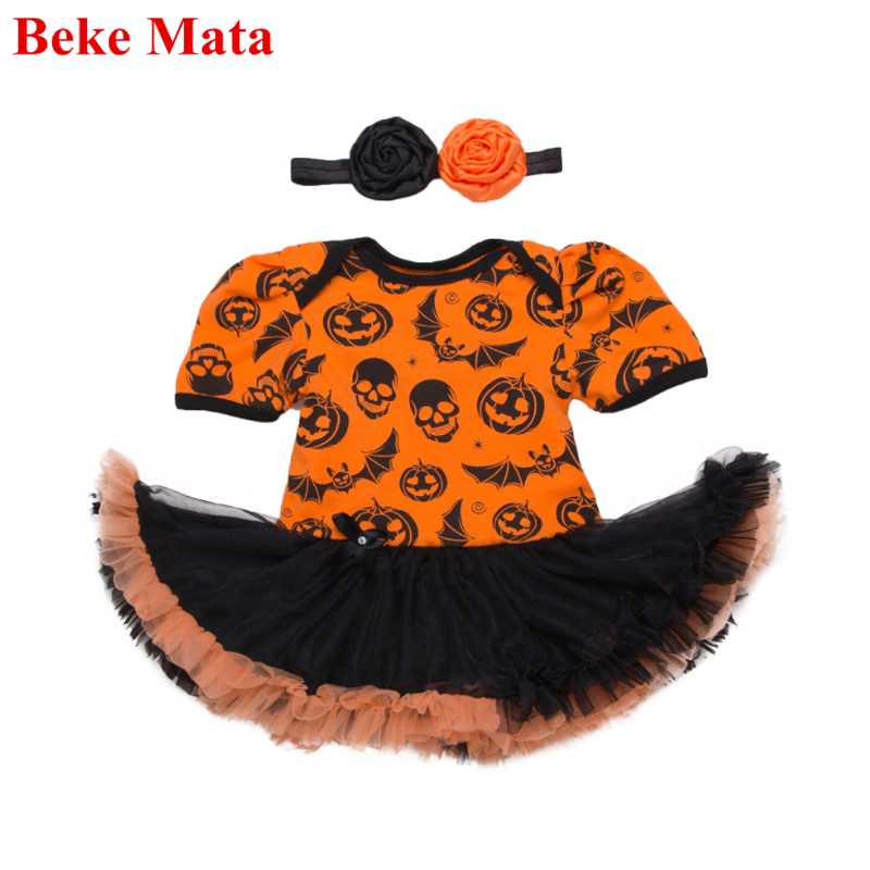 BEKE MATA Halloween Baby Clothing Sets Autumn 2017 Long Sleeve Cotton Baby Girl Romper Toddler Jumpsuit 2PCS Infant Costume