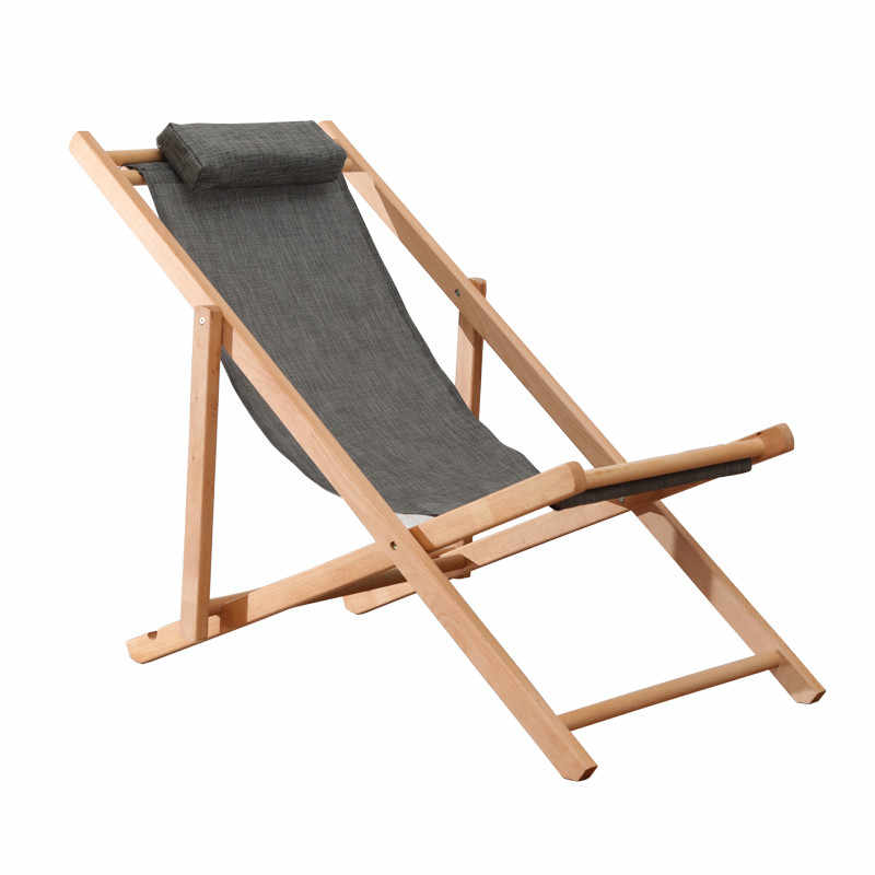 Adjule Sling Chair Natural Beech Wood Frame Portable Patio Wooden Beach Folding Outdoor Chaise