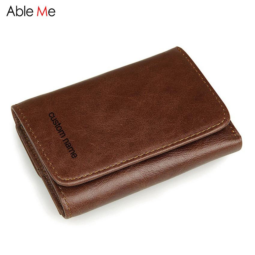 Custom name Wallet Man Genuine Leather Multifunction Card Holder RFID Coin Pocket Short Purse simline fashion genuine leather real cowhide women lady short slim wallet wallets purse card holder zipper coin pocket ladies