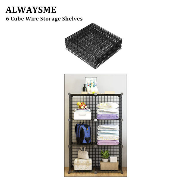 US $18 0 |ALWAYSME 6 Cubes Metal Wire Storage Organizer Shelves Rack DIY  Bookcase Closet Cabinet And Modular Shelving With Grids Wire Mesh-in  Storage