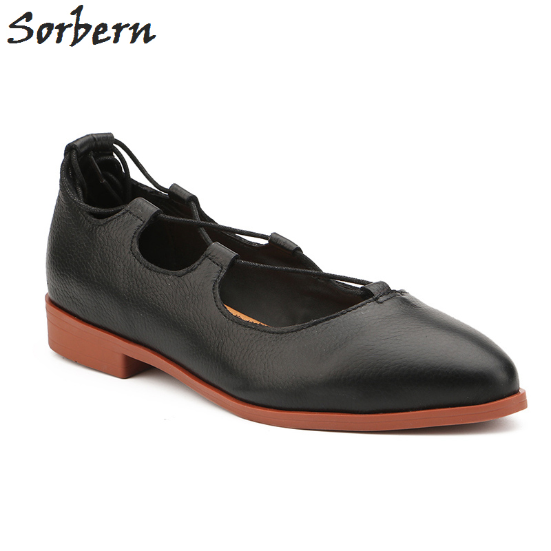 Sorben Black Soft Genuine Leather Slip On Women Shoes Flat Heels 2Cm Low Rubber Sole Women Loafers Women'S Lace Up Casual Shoes sorben pointed toe patent leather slip on women flats casual style ladies shoes flat heels black red designer shoes size 35 43