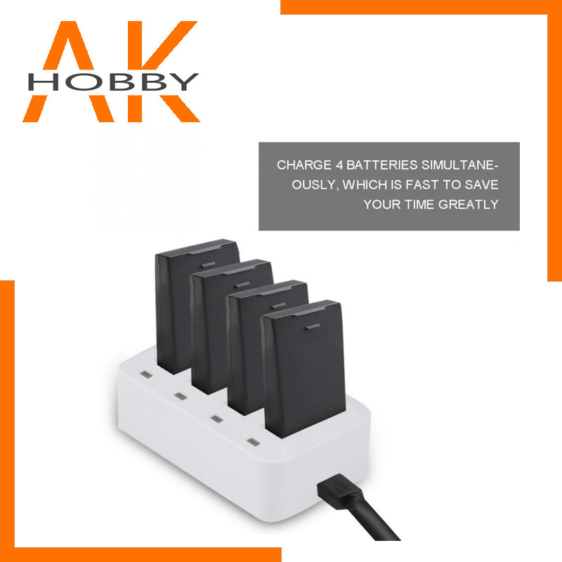 Battery Charger USB 4 in1 Multi Battery Charging Hub for DJI Tello Mini Drone 1100mAh Intelligent Flight Battery Charging Hub