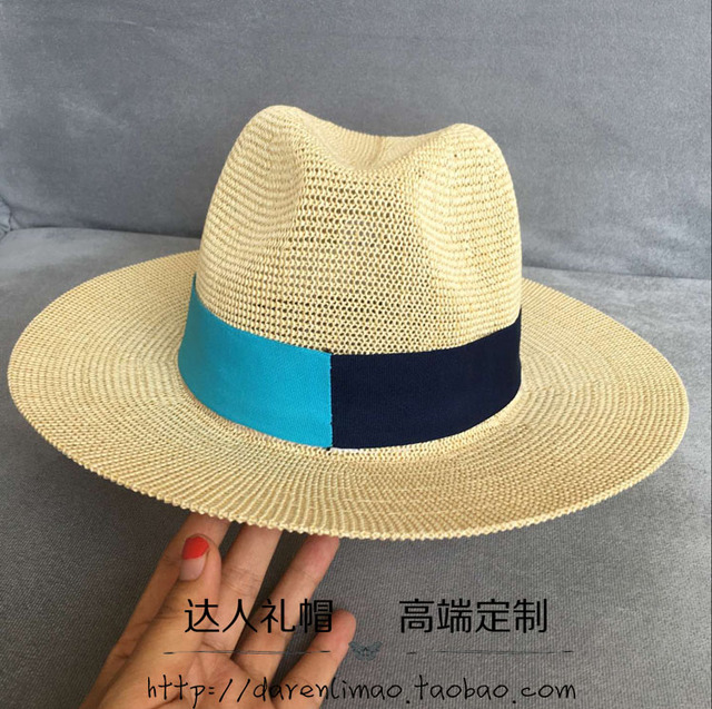 84e3168877c Chun xia han edition black blue double color stitching ribbon hollow out  Sir Straw hat sun