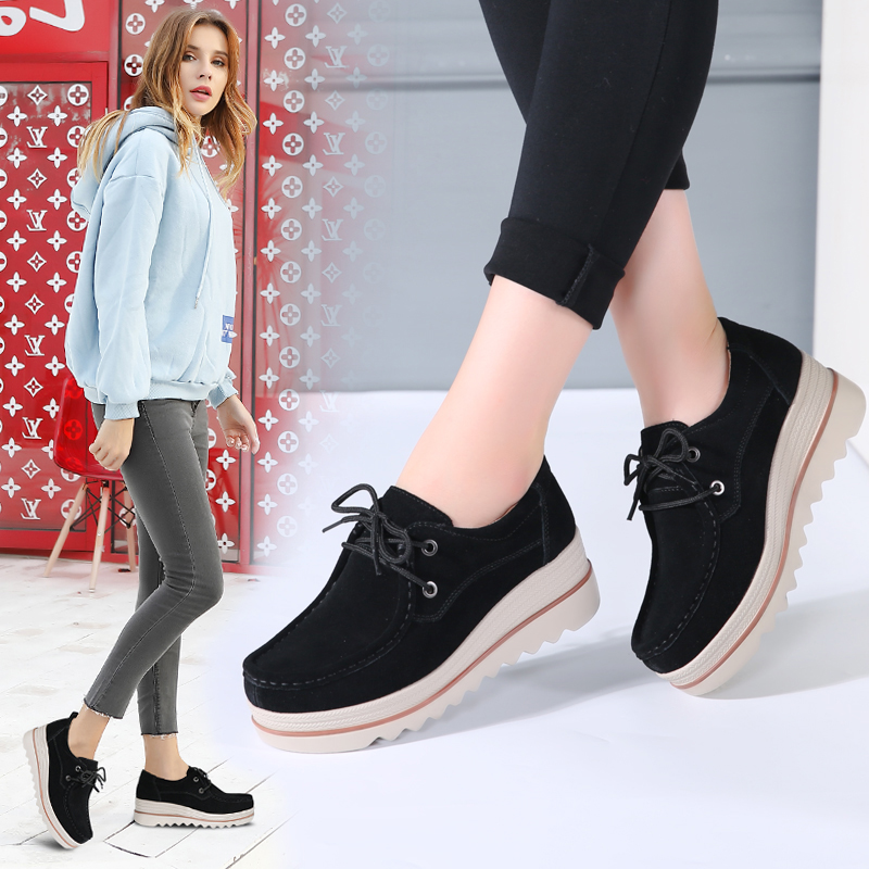 2019 Spring Women Flats Platform Shoes Thick Soled   Leather     Suede   Sapatos Feminino Creepers Lace Up Sneakers Tenis Feminino 3089