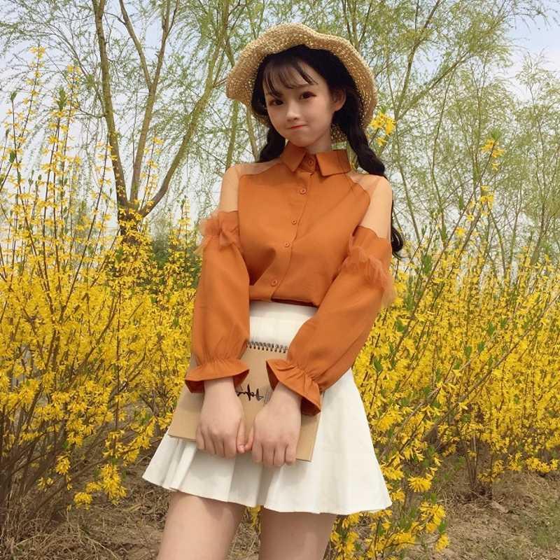 קוריאני מתוק רשת נשים חולצות בציר צווארון לבן תחרה תפרים שיפון צמרות את כתף בגדים סקסי משרד גבירותיי חולצות