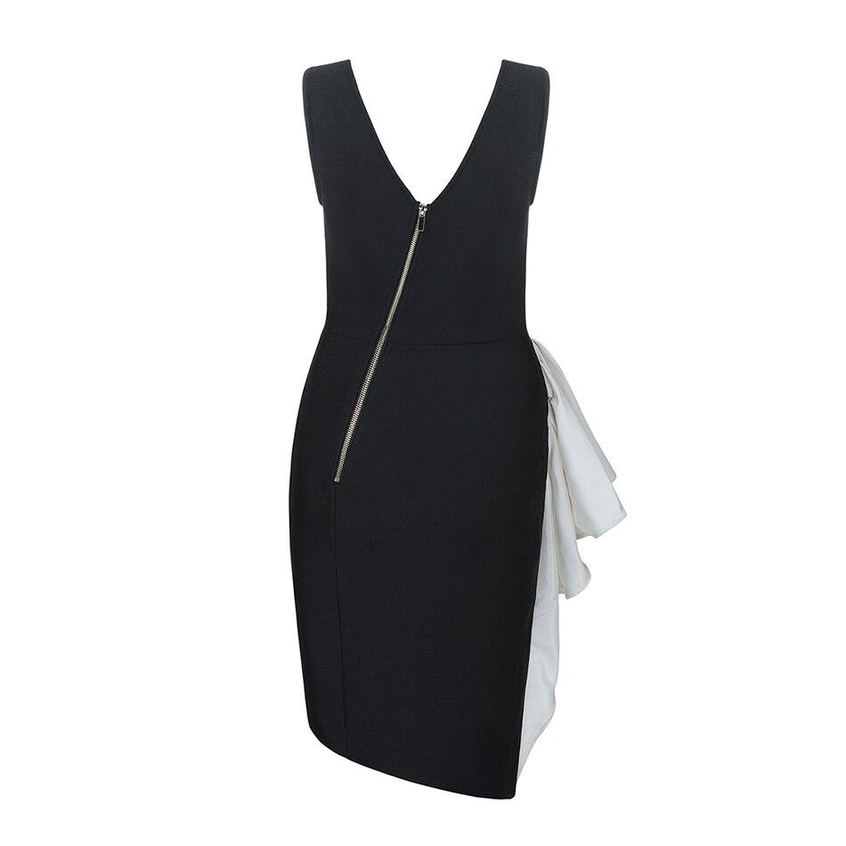 Robe Col Sans Serré Mode Sexy Nouveau Noir Femmes Manches 2019 Partie Rond Bandage Dame À De Volants 5SRc3Aq4jL