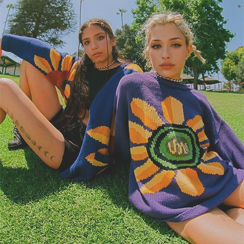 2018 UNIF Floral Printed Women Knitwear 2018 High Street New Oversized Women Knitted Pullovers O-neck Sweaters