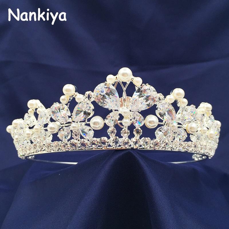 Nankiya Mariées De Mariage Diadème De Luxe Papillon Imitation Perle Superbe Zircon Princesse Couronne Couronne Birdes Cheveux Bijoux NT3447