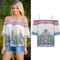 Fashion Women Sexy Off Shoulder Casual Loose Long Sleeve Shirt Tops
