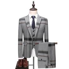 (Chaqueta   chaleco   Pantalones) 2018 trajes de alta calidad para hombre, a la moda, a rayas de rejilla para hombre, 3 piezas, traje de boda para novio de negocios, S-5XL